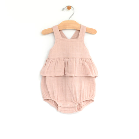 Muslin Chest Flutter Romper - Soft Rose