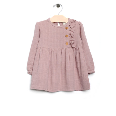 Muslin Side Button Dress - Mauve