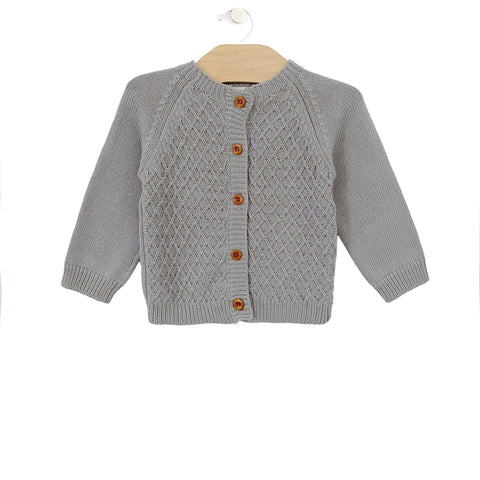 Cotton Knit Cardigan - Slate