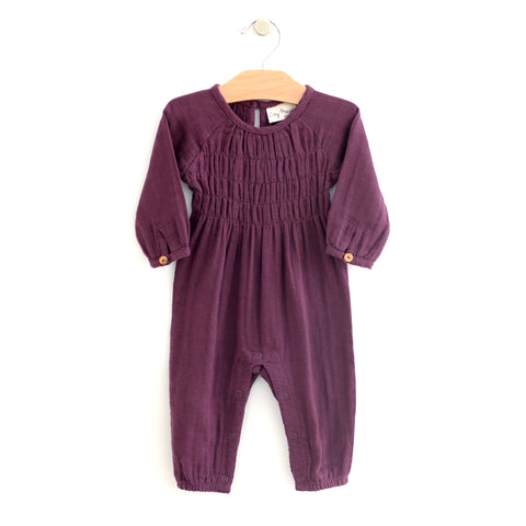 Muslin Smocked Romper - Fig