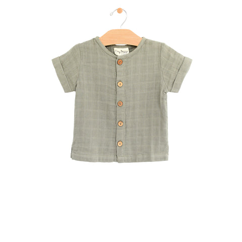 Muslin Button Down Tee - Sage