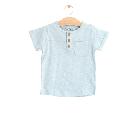 Pocket Henley Tee - Sky