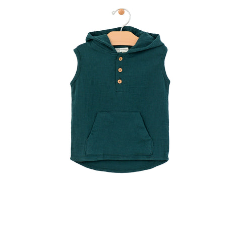 Crinkle Cotton Hooded Henley Tee - Pine