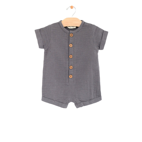 Muslin Short Button Romper - Pewter