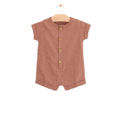 Short Button Romper- Clay