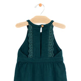 Crinkle Cotton Lace Back Dress - Pine