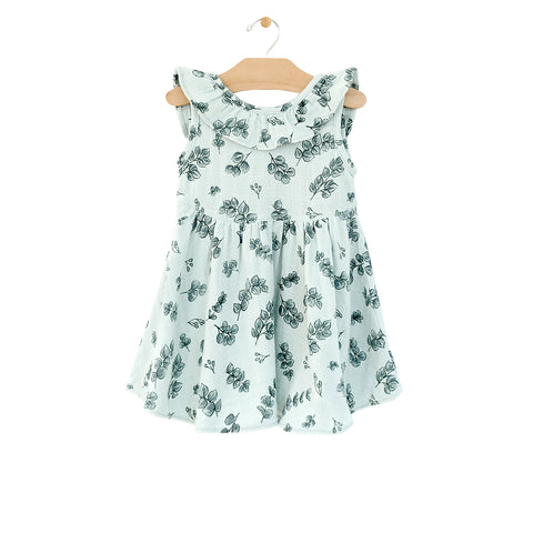 Muslin Flutter V Back Dress - Eucalyptus