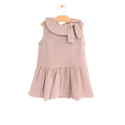 Muslin Retro Collar Dress- Dusty Mauve