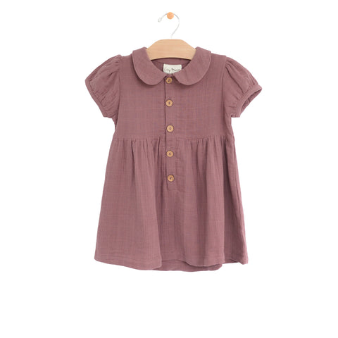 Muslin Button Dress - Rosewood
