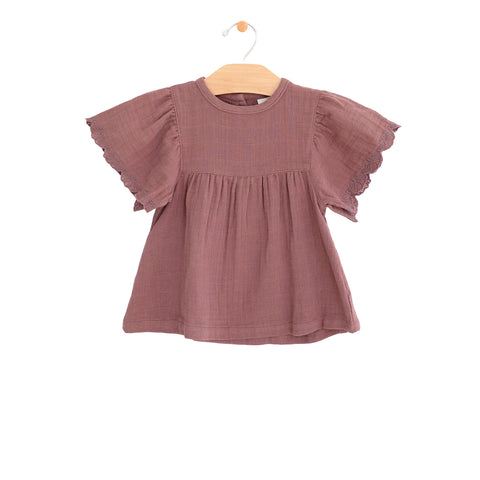 Muslin Embossed Sleeve Top - Rosewood