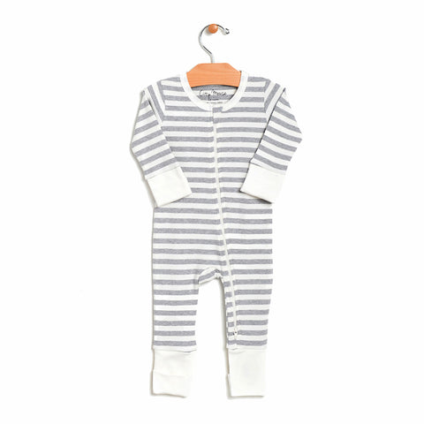 2-Way Zip Romper - Grey Melange Stripe