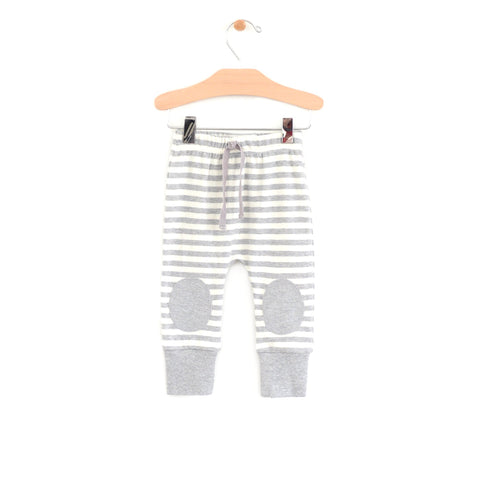 Striped Patch Jogger - Grey Melange