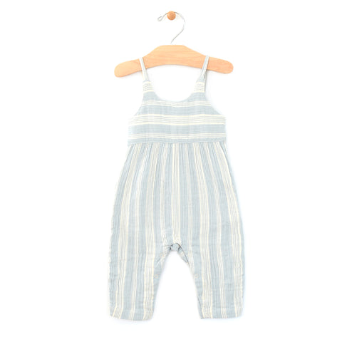Crinkle Cotton Long Tank Romper - Stripes