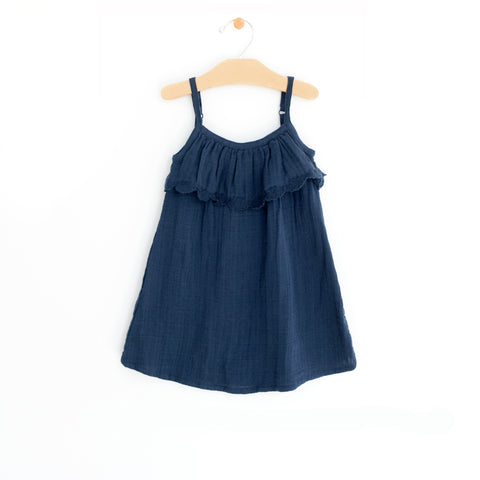 Muslin Frill Dress - Midnight Blue