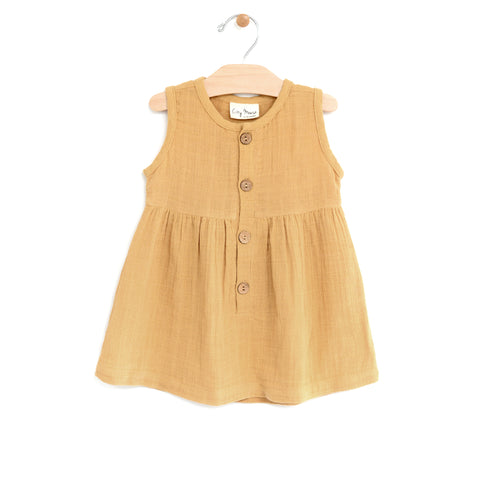 Muslin Button Tank Dress - Straw