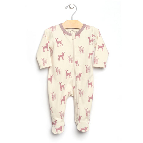 Big Deer 2 Way Zip Romper - Natural