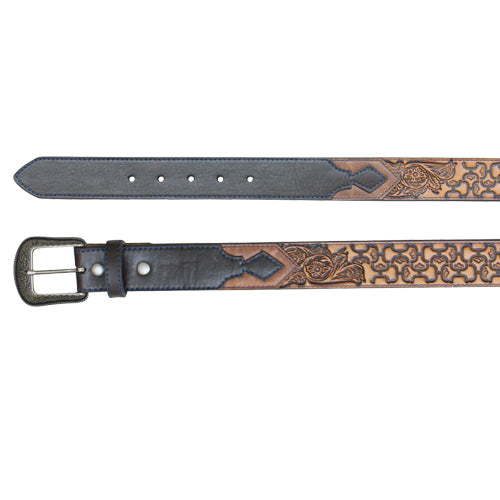 Brown Tooled Scrolling Leather Belt
