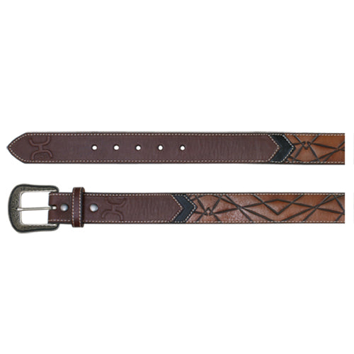 Leather Geometric Brown & Black Belt