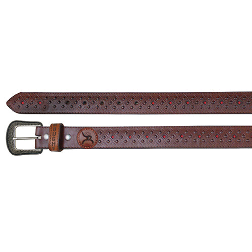 Leather Brown & Red Diamond Cut Belt