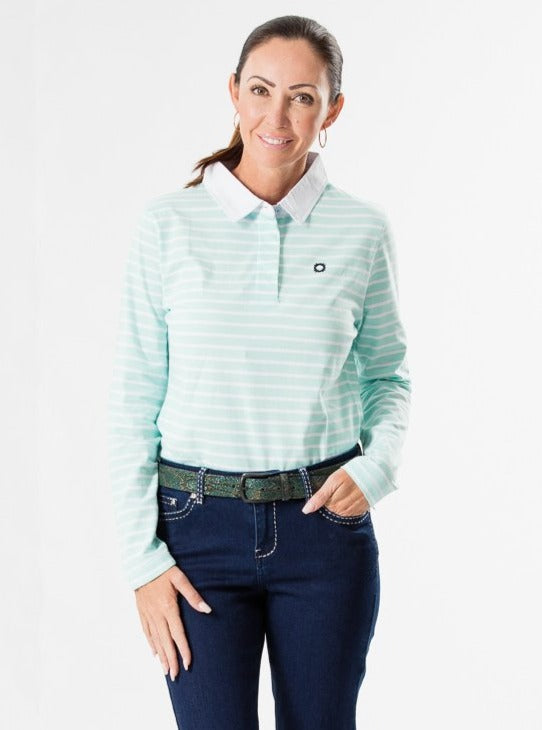 Mint Striped Longsleeve Polo Shirt
