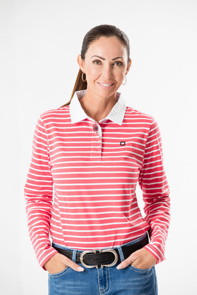 Melon Striped Longsleeve Polo Shirt