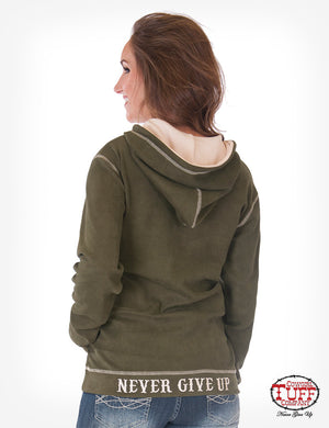 Army Green Zip Hoodie With Chest Embroidery