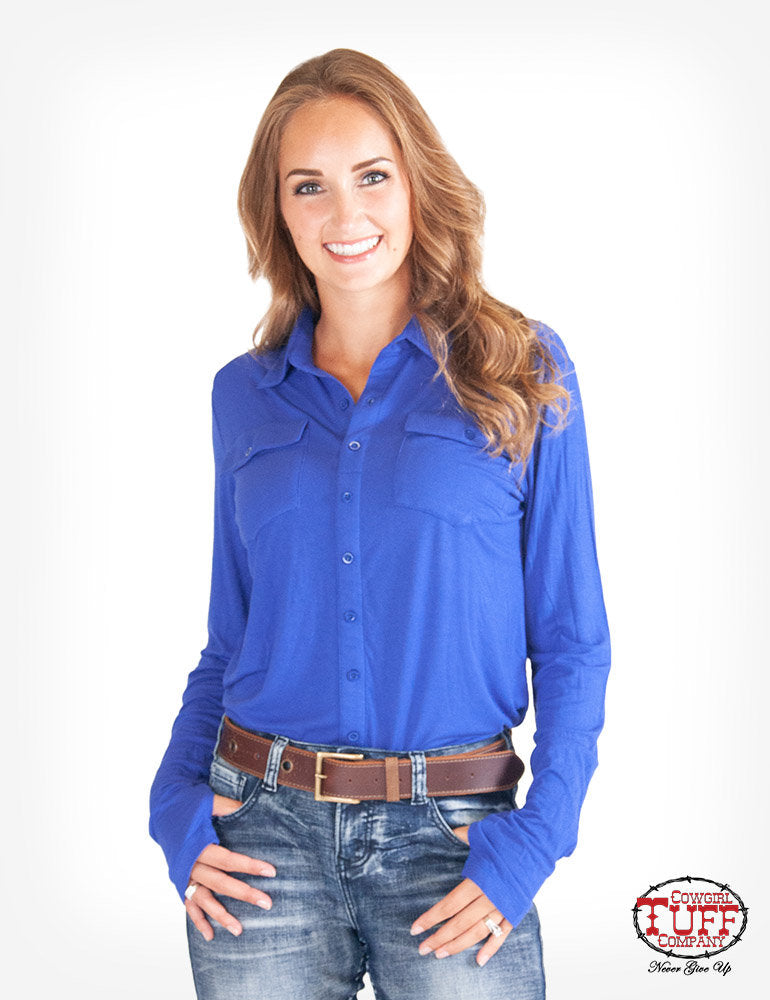 Blue Jersey Pullover Button-Up Shirt
