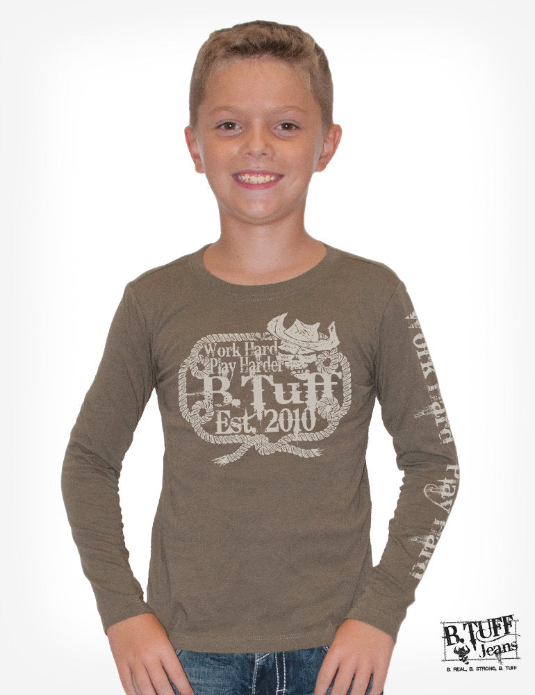 Boy's Army Green Long-Sleeve Tee With Western Rope Print [SIZE SMALL]
