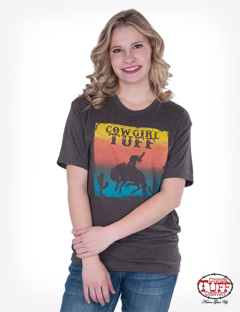 Brown Tee Sunset Print [Cowgirl Tuff]