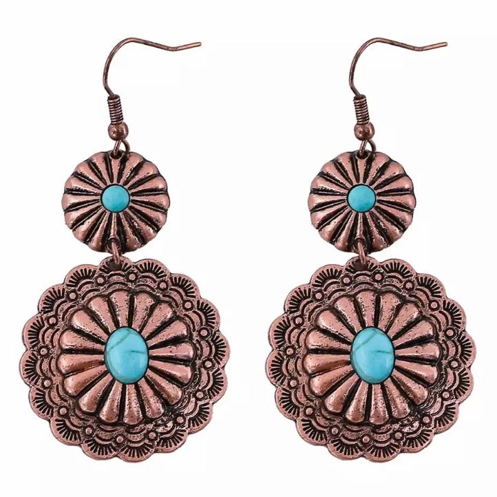 Double Copper Concho Earrings