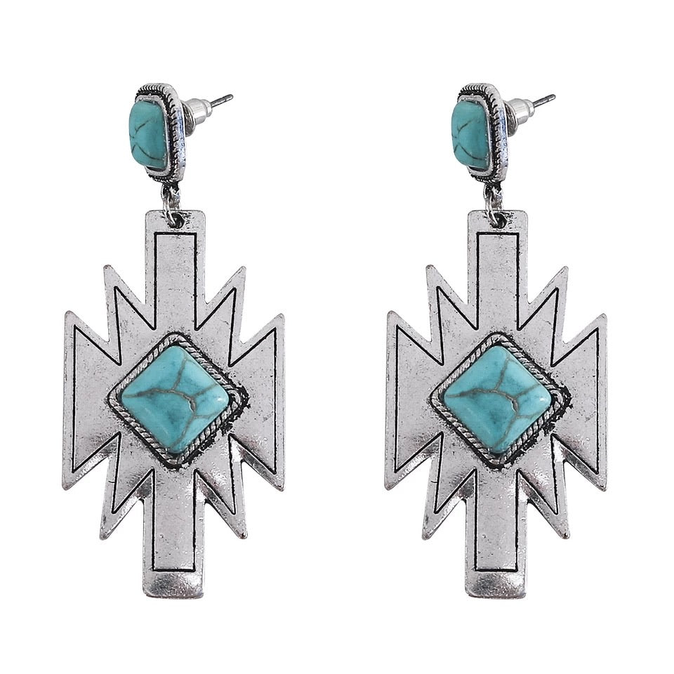 Silver Aztec Natural Turquoise Post Earrings