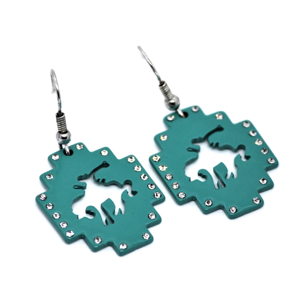 Turquoise Bronc Rhinestone Earrings