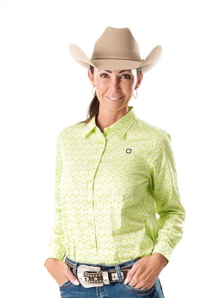 Lime Lace Longsleeve Button Up Arena Shirt
