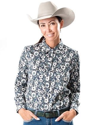 Teal Blossom Longsleeve Button Up Arena Shirt