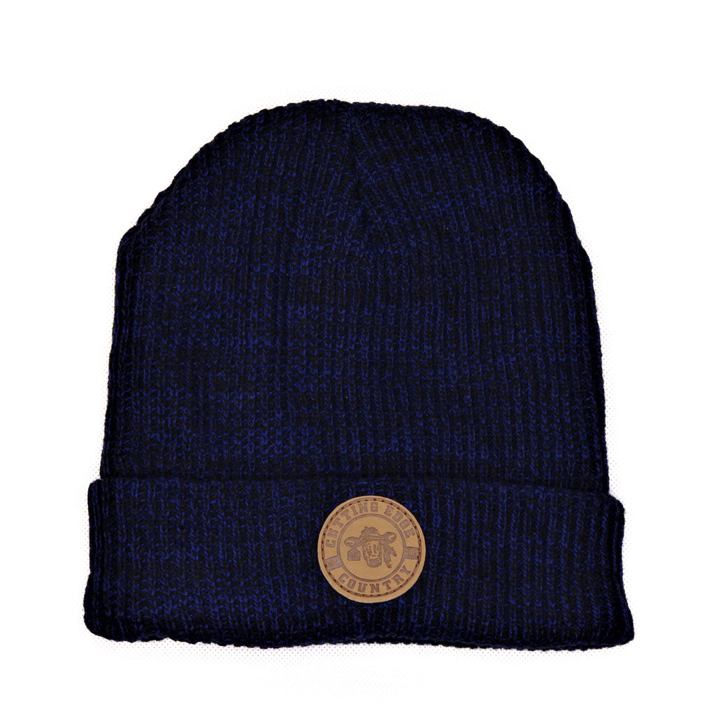Blue Ribbed Knitted Beanie