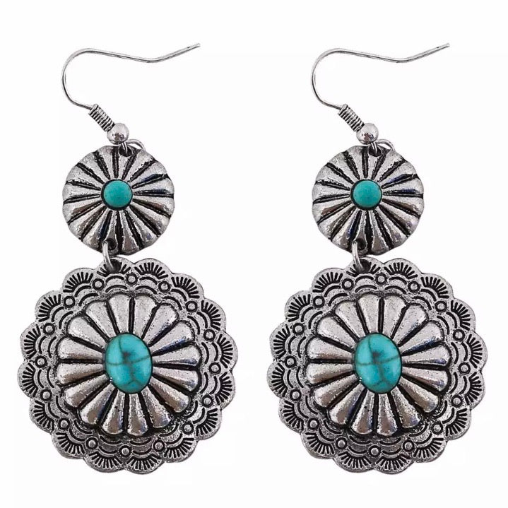 Double Silver Concho Earrings