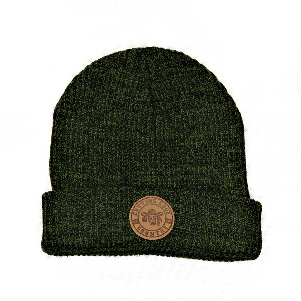 Green Ribbed Knitted Beanie