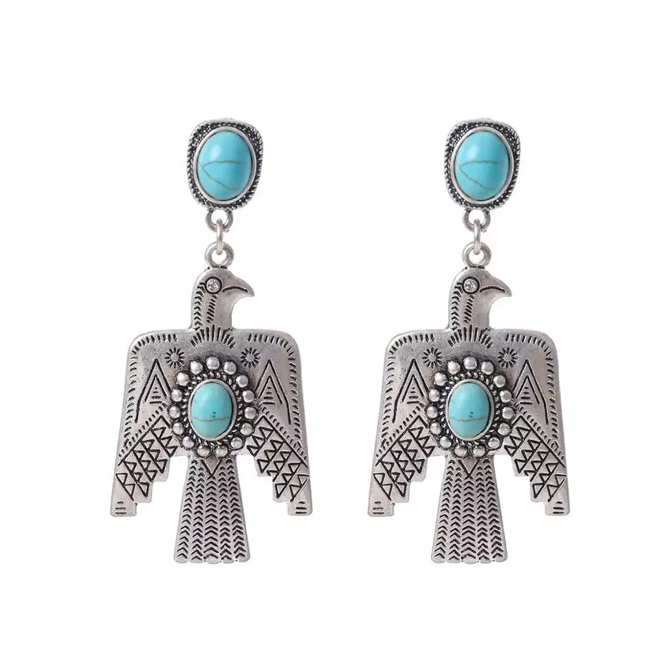 Natural Turquoise Post Thunderbird Earrings