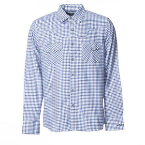 Mens Blue Check Longsleeve Button Up Shirt