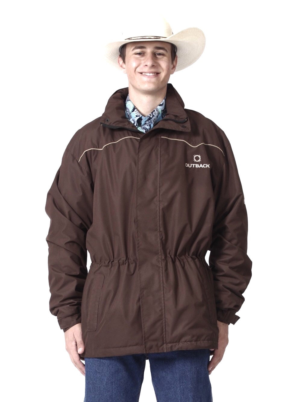 Waterproof Fleece Lined Hooded Jacket - Brown