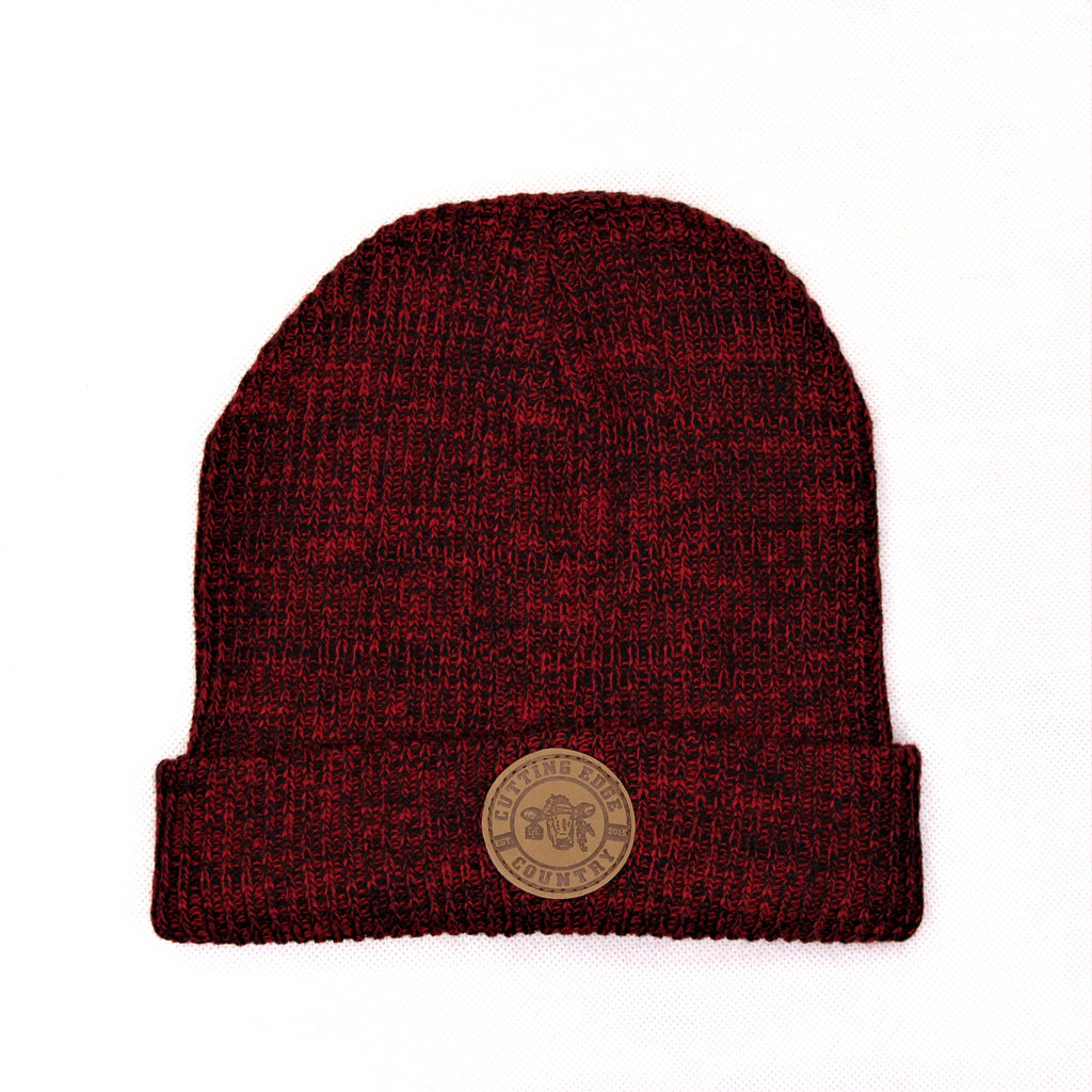 Red Ribbed Knitted Beanie