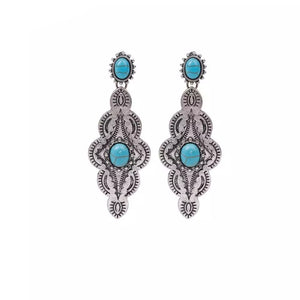 Turquoise Statement Concho Earrings