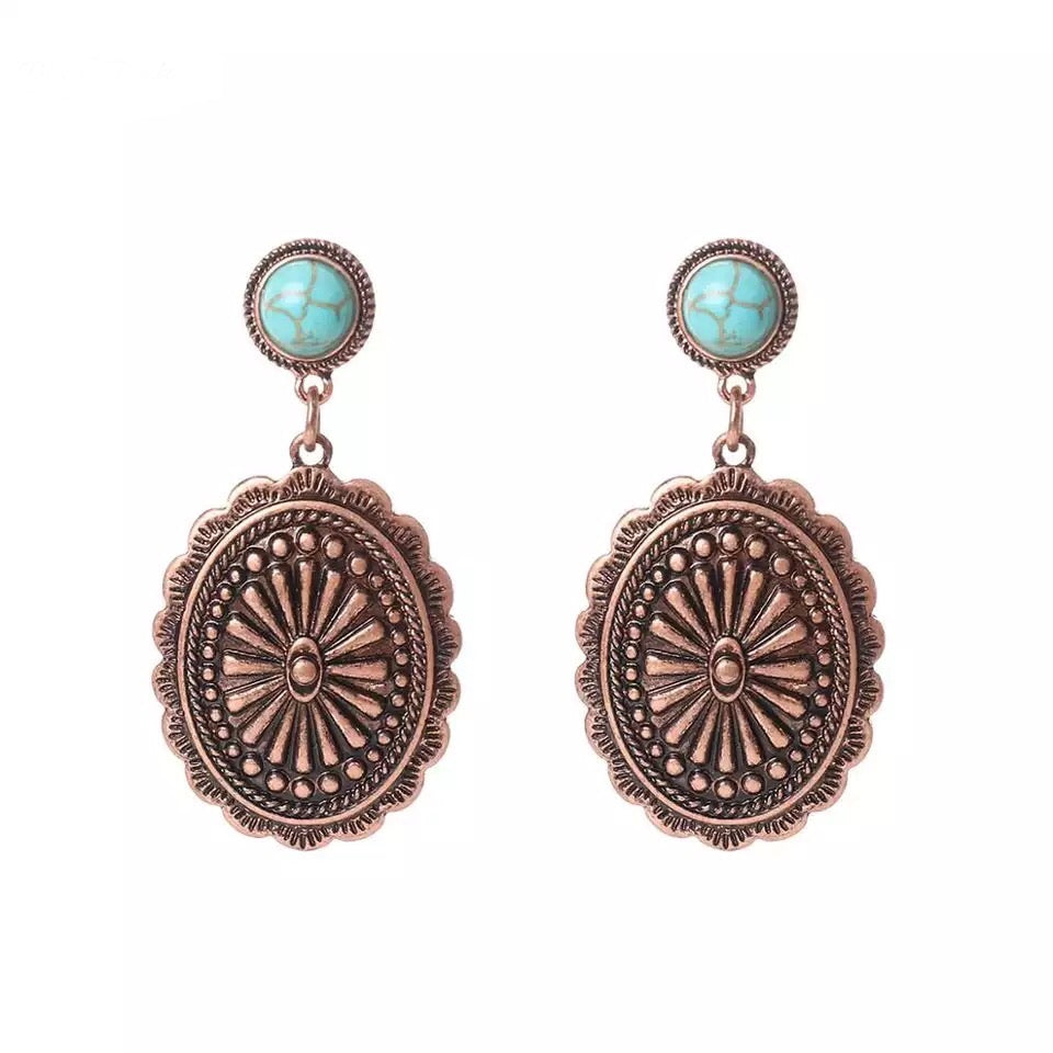 Copper & Turquoise Concho Earrings