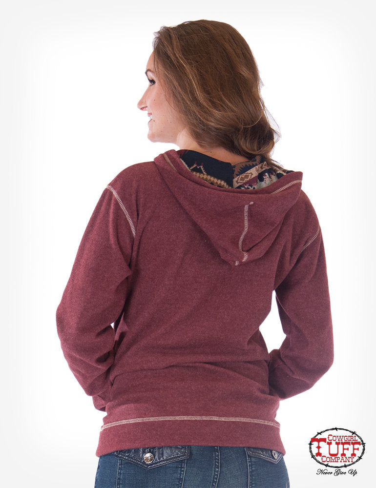 Maroon Reversed Aztec Fleece Zip Hoodie
