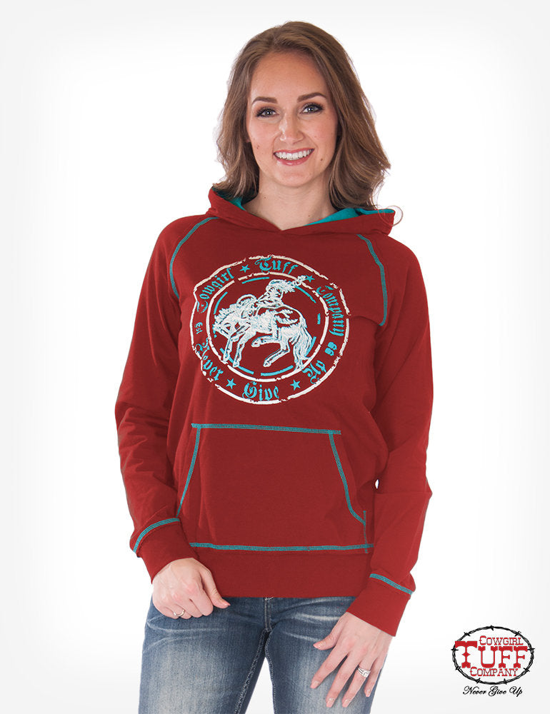 Red Hoodie With Turquoise Hood Lining & Buckin' Horse