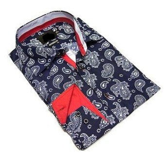 Boys Navy & Red Paisley Button-Up Shirt