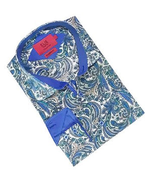 Blue & Turquoise Paisley Button-Up Shirt