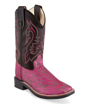 Black & Hot Pink Leather Cowboy Boot