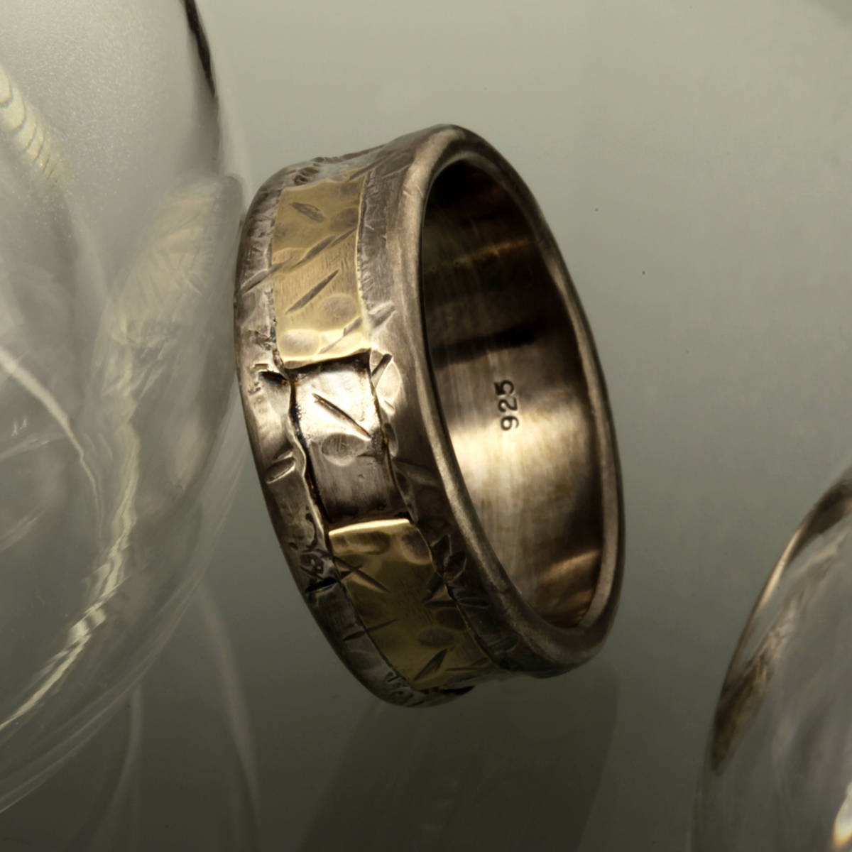 It is an image of Mens Gold and Silver Wedding Band,RS-41