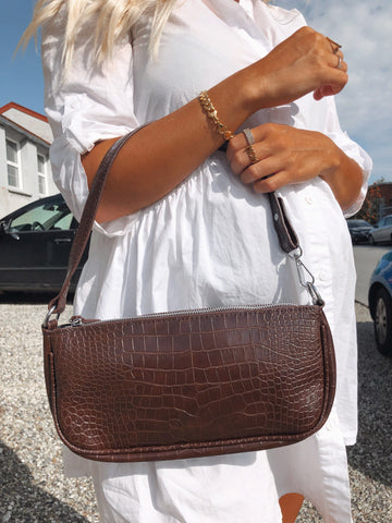 Brown baguette Croc bag